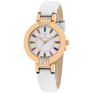 Christian Van Sant Women's CV0442 Celine Round White Leather Strap Watch