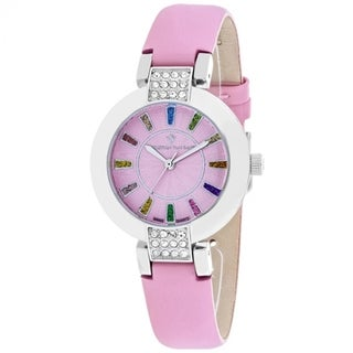 Christian Van Sant Women's CV0441 Celine Round Pink Leather Strap Watch