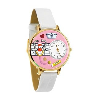 Nurse Pink Watch in Gold