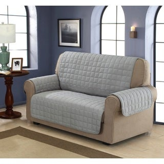 Chic Home Jonathan Box Quilted Quick Draped Grey Loveseat Cover