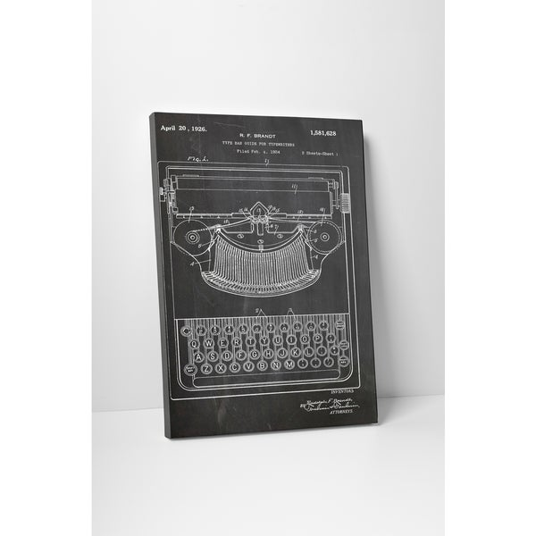 Patent Prints 'Type Bar Guide' Gallery Wrapped Canvas Wall Art