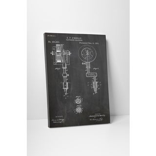 Patent Prints 'Tattooing Machine' Gallery Wrapped Canvas Wall Art