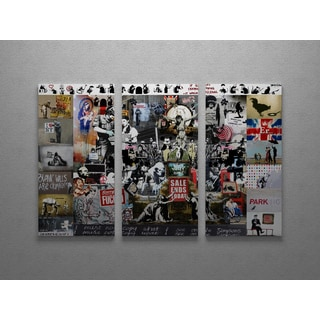 Banksy 'Banksy Collage Mashup' Triptych Gallery Wrapped Canvas Wall Art