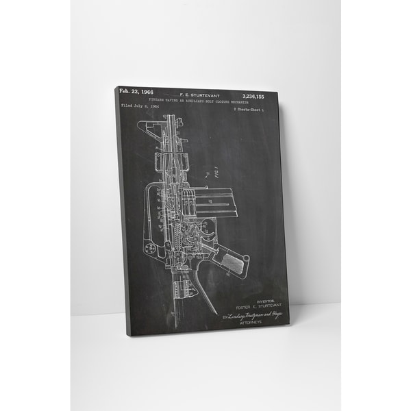 Patent Prints 'M16 Rifle' Gallery Wrapped Canvas Wall Art