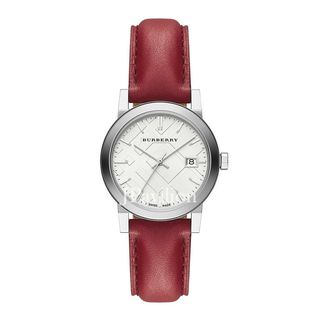 Burberry Women's BU9129 'The City Check' Red Leather Watch
