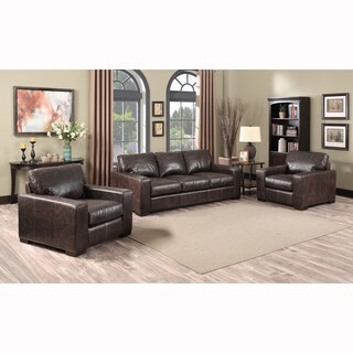 Maxweld Premium Distressed Brown Top Grain Leather Sofa and Two Chairs