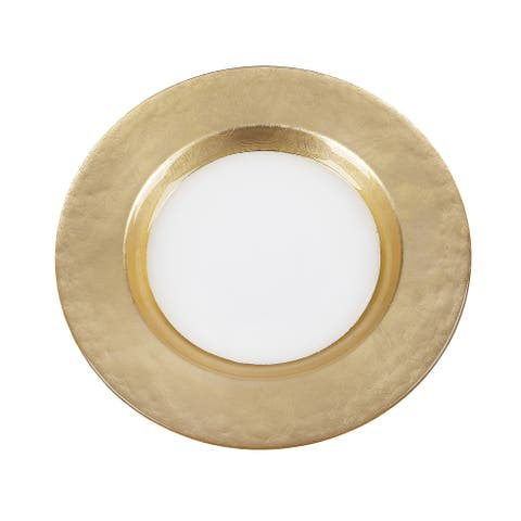 Mona Wide Gold Band Dinner Plate