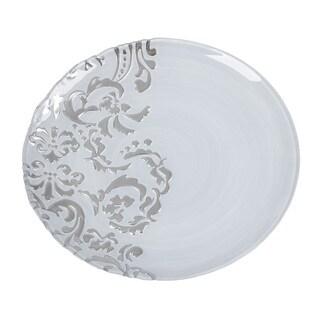 Damask White Silver Dinner Plate