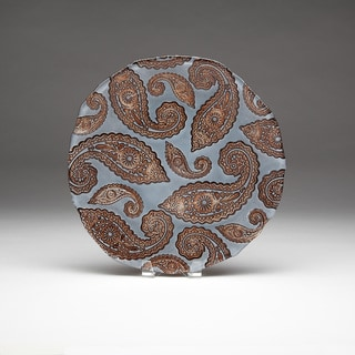 Paisley Slate Blue and Copper Platter