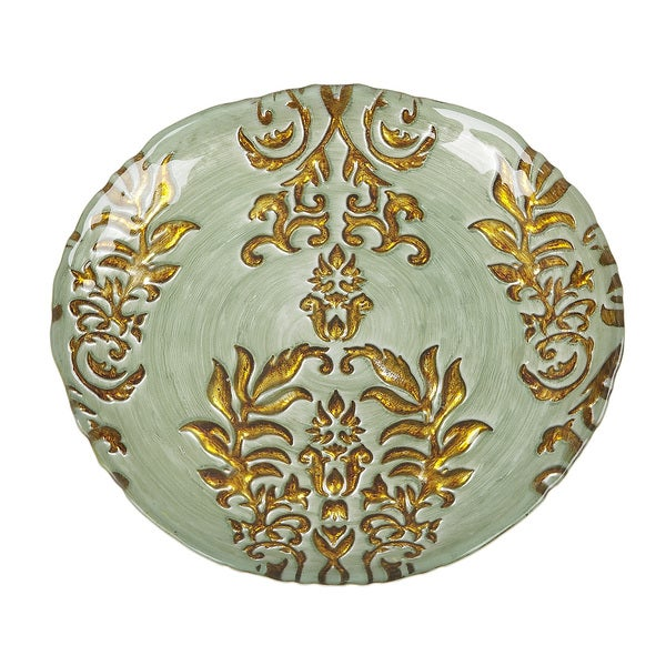 Damask Turquoise/ Gold Salad Plate  sc 1 st  Overstock & Damask Turquoise/ Gold Salad Plate - Free Shipping On Orders Over ...