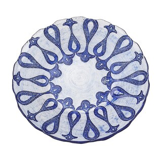 Larissa 8.5-inch Blue and Silver Plate