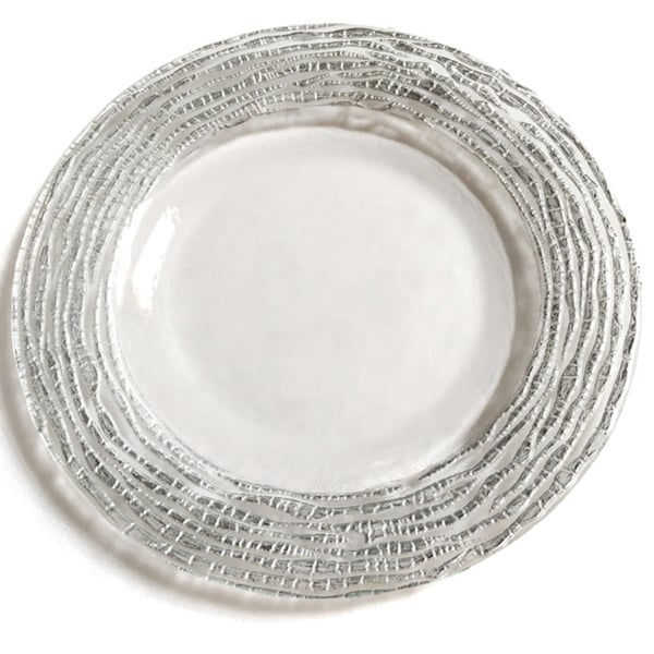 Magara Clear and Silver Dinner Plate  sc 1 st  Overstock.com & Magara Clear and Silver Dinner Plate - Free Shipping On Orders Over ...