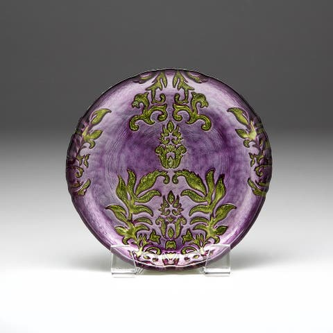 Damask Purple Green Canape Plate