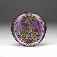 Damask Purple Green Canape Plate