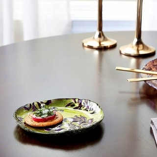 Damask Green Purple Canape Plate
