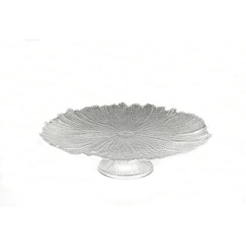 Brilliant Coral Gold Footed Cake Plate
