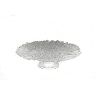 Brilliant Coral Clear Footed Cake Plate