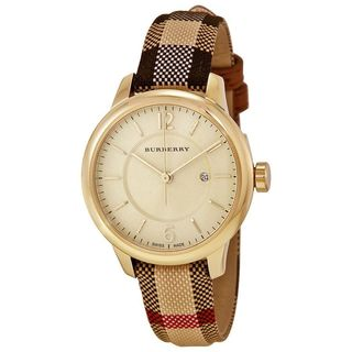 Burberry Women's BU10104 'The Classic' Honey Check Fabric-Coated Leather Watch