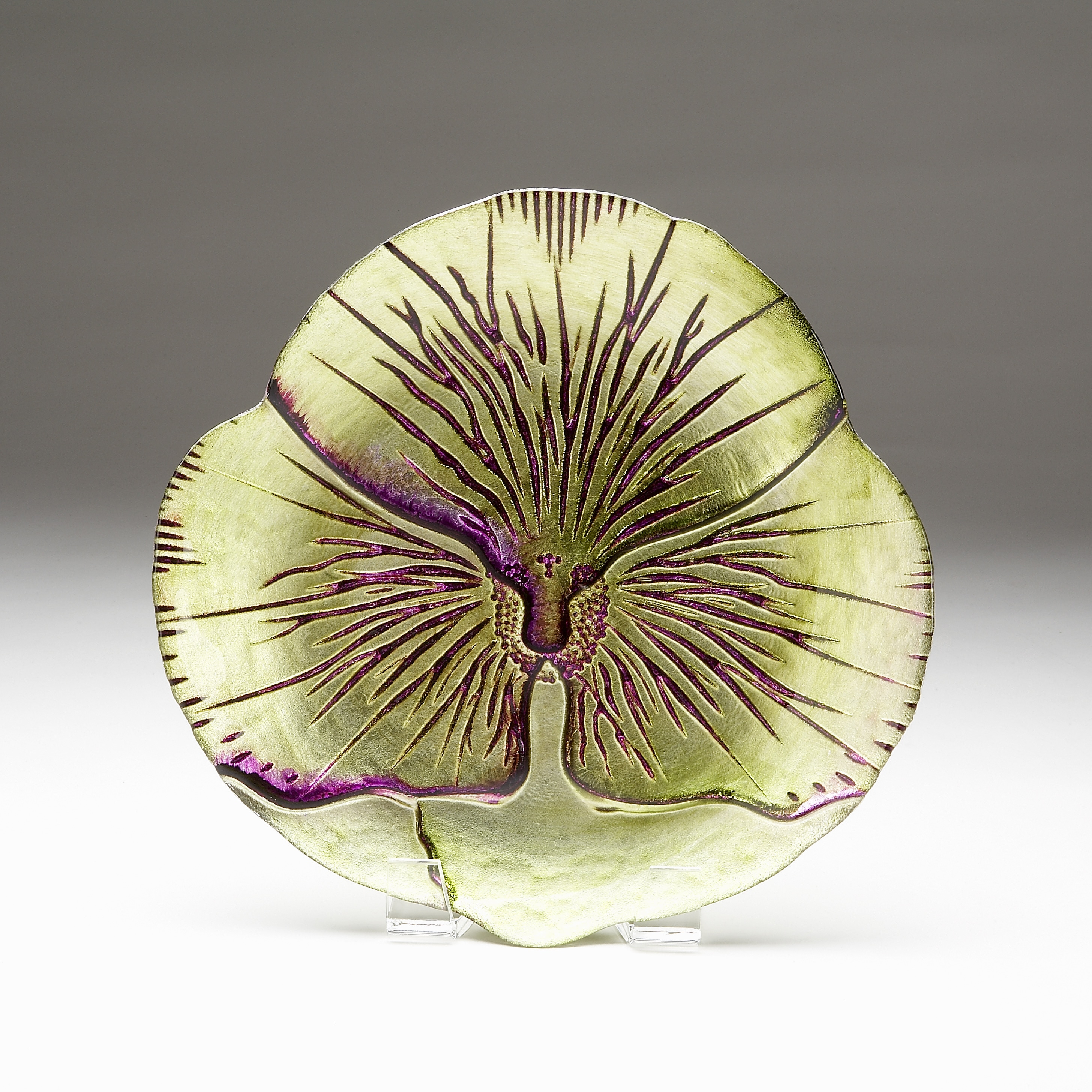 Pansy Green/ Purple Side Plate (Plate) (Glass, Floral)