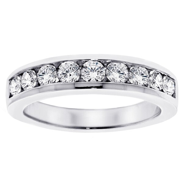 14k White Gold 1ct TDW Channel-set Brilliant-cut Diamond Wedding Ring