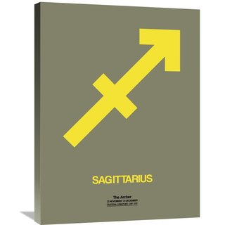 Naxart Studio 'Sagittarius Zodiac Sign Yellow' Stretched Canvas Wall Art