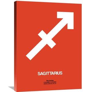 Naxart Studio 'Sagittarius Zodiac Sign White on Orange' Stretched Canvas Wall Art