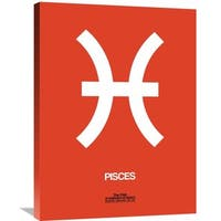 Naxart Studio 'Pisces Zodiac Sign White on Orange' Stretched Canvas Wall Art