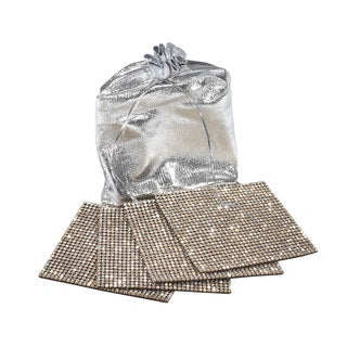 Clear Rhinestone Gold Back Coaster