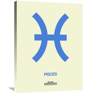 Naxart Studio 'Pisces Zodiac Sign Blue' Stretched Canvas Wall Art