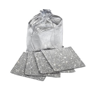 Clear Rhinestone Silver Back Coaster