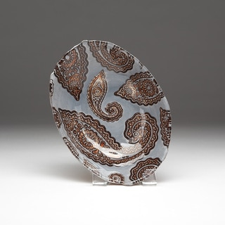 Paisley Slate Blue and Copper Bowl