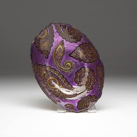 Paisley Purple Gold Oval Bowl