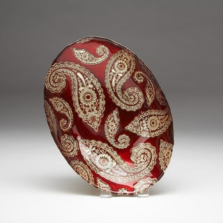 Paisley Red Gold Oval Bowl