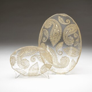 Paisley Clear Gold Brushed Oval Bowl