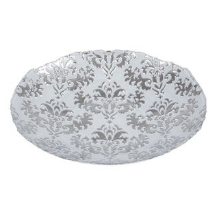 Damask Shallow White/ Silver Bowl