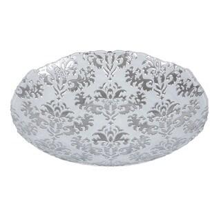 Damask Shallow White/ Silver Bowl