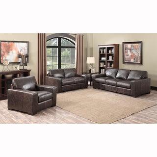 Maxweld Premium Distressed Brown Top Grain Leather Sofa, Loveseat and Chair - 34 x 87 x 40