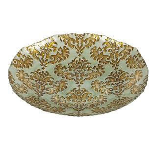 Damask Shallow Turquoise/ Gold Bowl