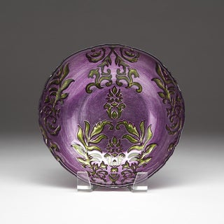 Damask Purple/ Green Bowl