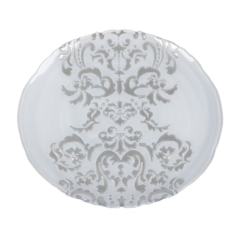 Damask White Silver Charger Plate