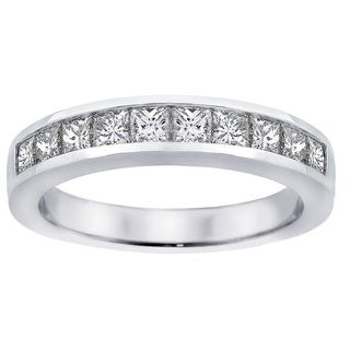 14k White Gold 1ct TDW Channel-set Princess-cut Diamond Wedding Ring