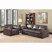 Maxweld Premium Distressed Brown Top Grain Leather Sofa and Chair