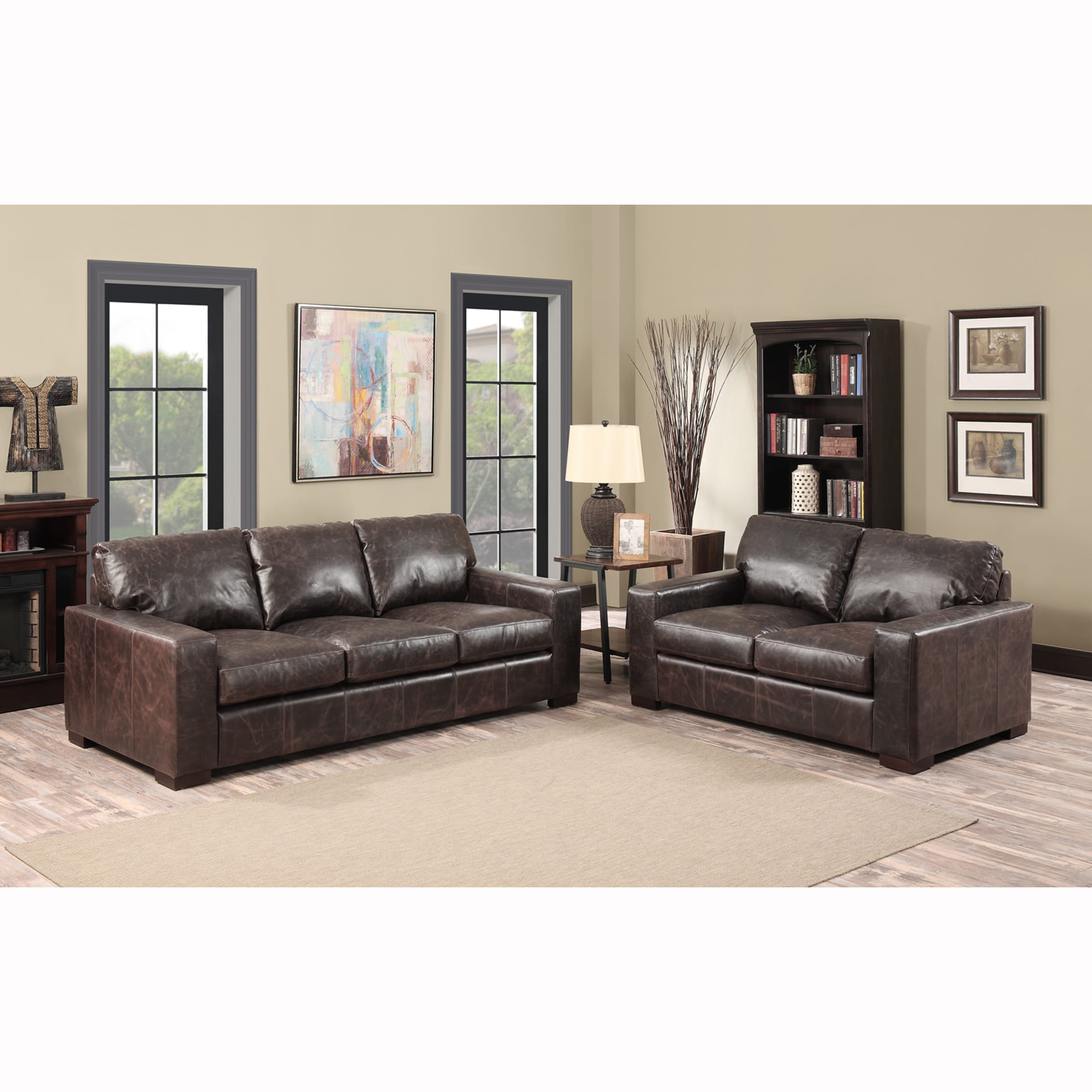 Maxweld Premium Distressed Brown Top Grain Leather Sofa And Loveseat