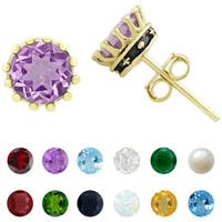 Dolce Giavonna Gold over Sterling Silver Gemstone Birthstone Crown Stud Earrings
