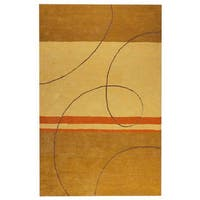 Handmade M.A. Trading Indo Trenza Gold Rug (India)