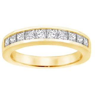 14k Yellow Gold 1ct TDW Channel-set Princess-cut Diamond Wedding Ring