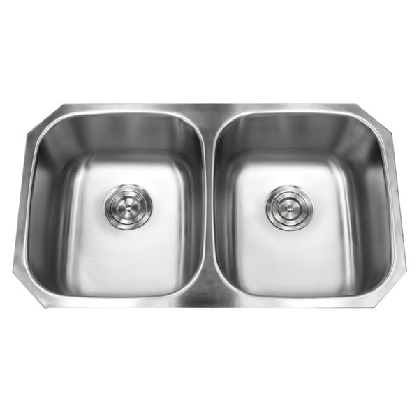 Shop Stainless Steel 32.5-inch 50/50 Undermount Double-bowl Kitchen ...