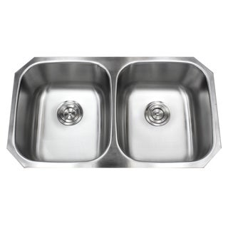32.5-inch Stainless Steel 18-gauge Double 50/50 Bowl Undermount Kitchen Sink Basket Strainer