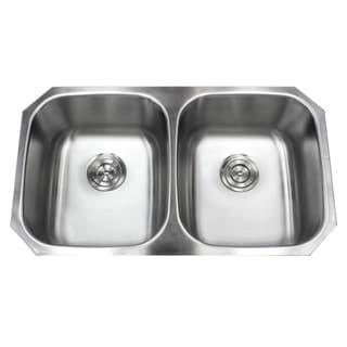 32.5-inch Stainless Steel 18-gauge Double 50/50 Bowl Undermount Kitchen Sink Basket Strainer