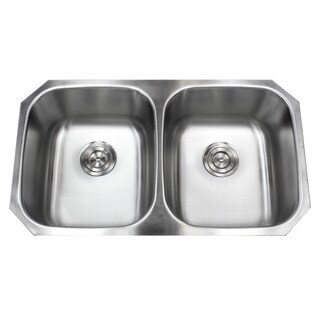 Stainless Steel Undermount 32.5-inch 50/50 Double Bowl Kitchen Sink